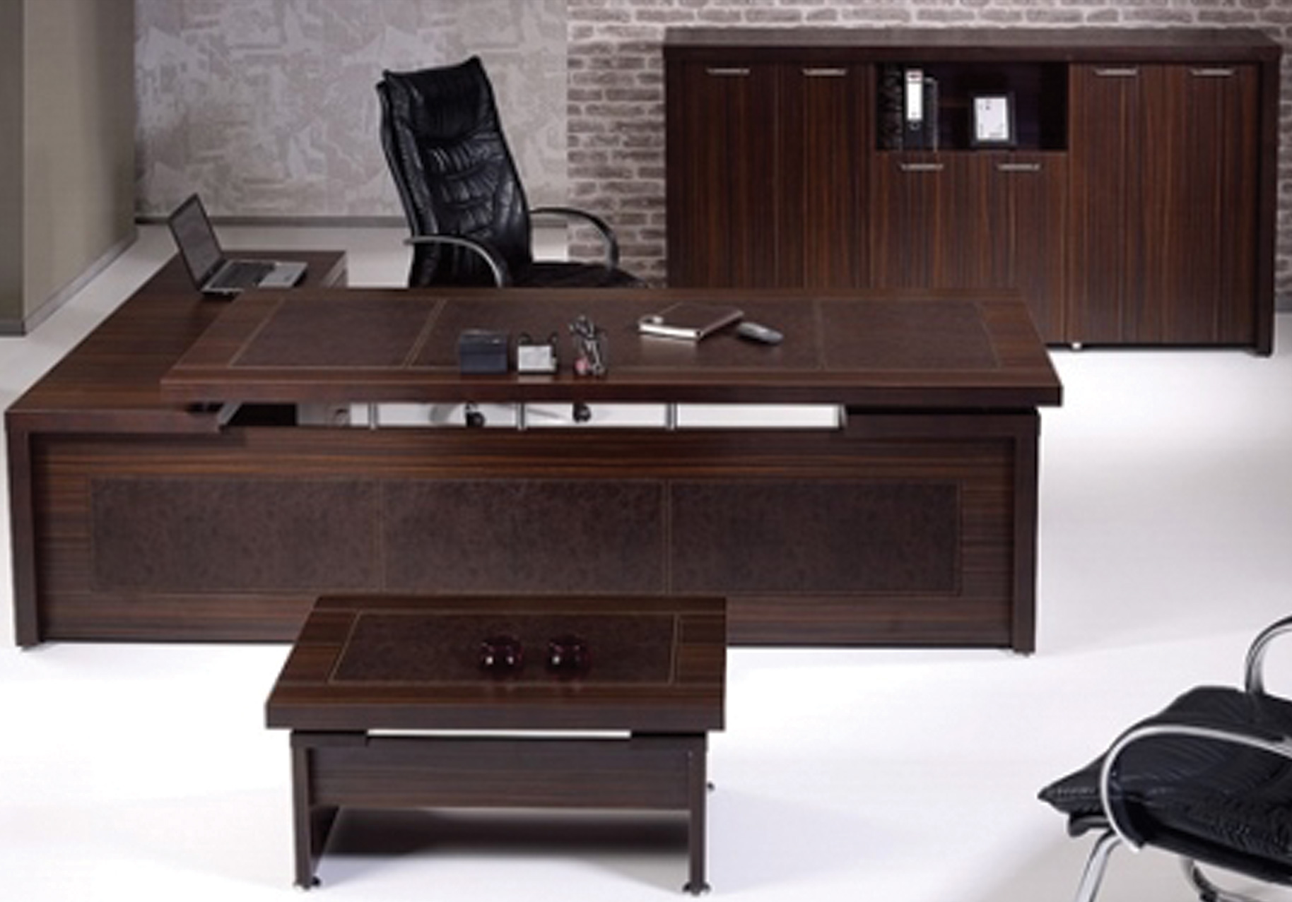 Modern Desk Set +CABINET +TEA Table - Modern desk set 260cm with return + tea table +cabinet size 220x 44x120cm